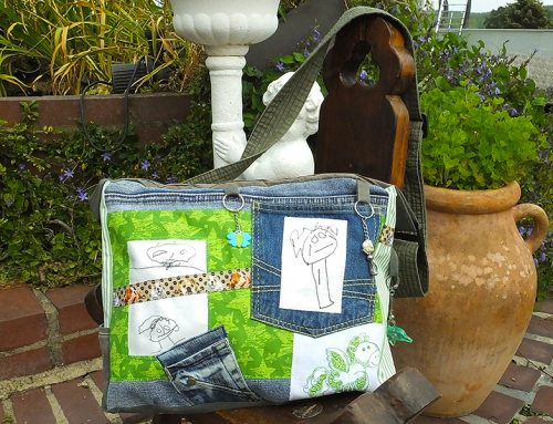 Jeanshose trifft Stichmännchen, Ergebnis: Upcycling Tasche