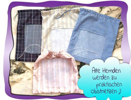 Upcycling: altes Hemd wird zum Obstnetz ;)